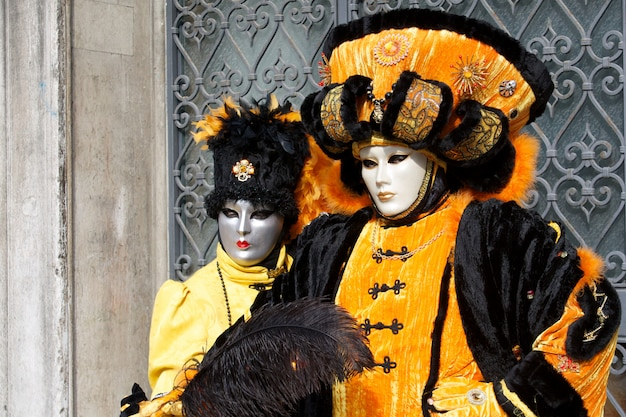 People in costume for venice carnival Premium Photo