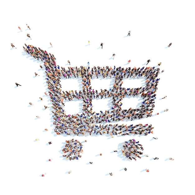 People in the form of shopping baskets Premium Photo