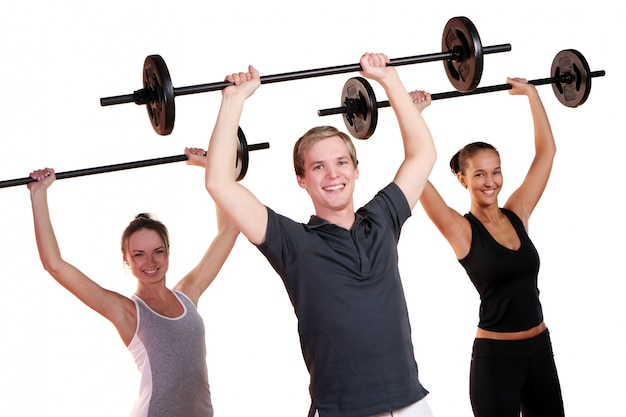 People group  doing fitness exercises Free Photo