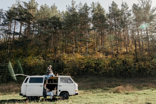 People having a road trip with copy space Free Photo