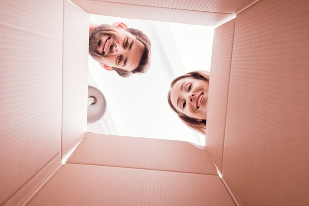People inside bottom of the box view Free Photo