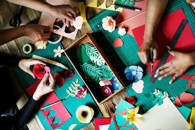 People Making Paper Flowers Craft Art Work Handicraft Photo Free