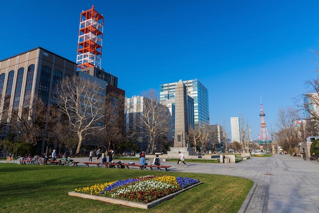 People relax at odori park Premium Photo