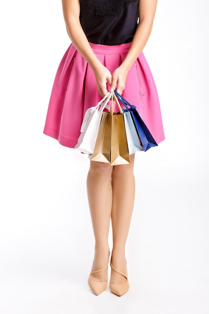 People, sale, black friday concept - woman with shopping bags Premium Photo