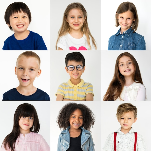 People set of diversity kids playful studio collage Premium Photo