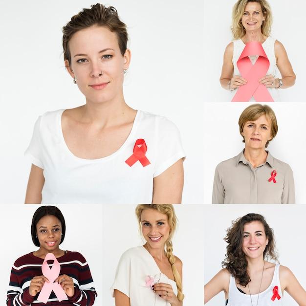 People set of diversity women with red ribbon studio collage Premium Photo