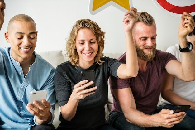 People using smartphones Premium Photo
