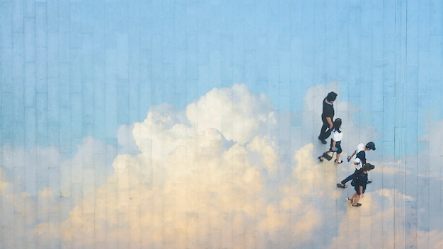 People walk on across the pedestrian concrete landscape with  reflect the cloud and blue sky. Premium Photo