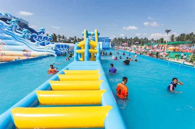 People in the  water park Premium Photo