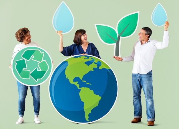 People with environment and recycling icons Premium Photo