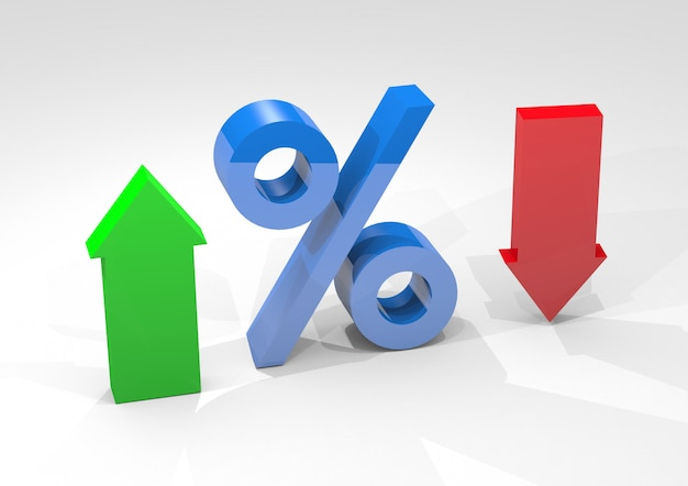Percentage interest with arrows indicating high and low percentages isolated on white background Premium Photo