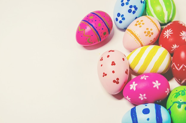 Perfect easter eggs hand made. on white isolated background. selective focus. Premium Photo