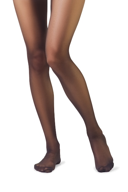Perfect female legs in pantyhose isolated on white Premium Photo