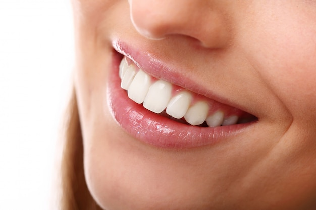 Perfect smile with white teeth, closeup Free Photo