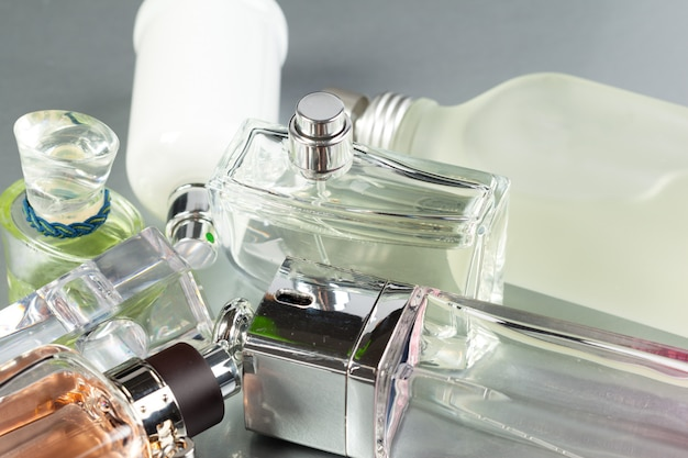 Perfume bottle on dark Premium Photo