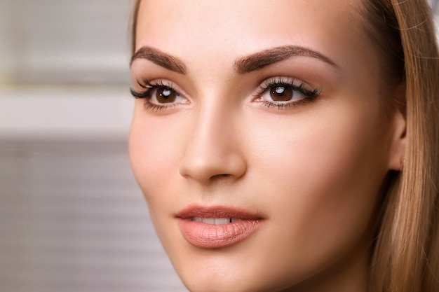 Permanent make up on eyebrows. Premium Photo