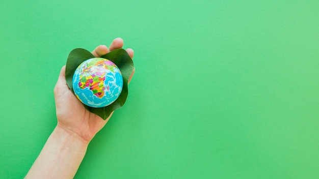 Person holding a tiny globe with copy space Premium Photo