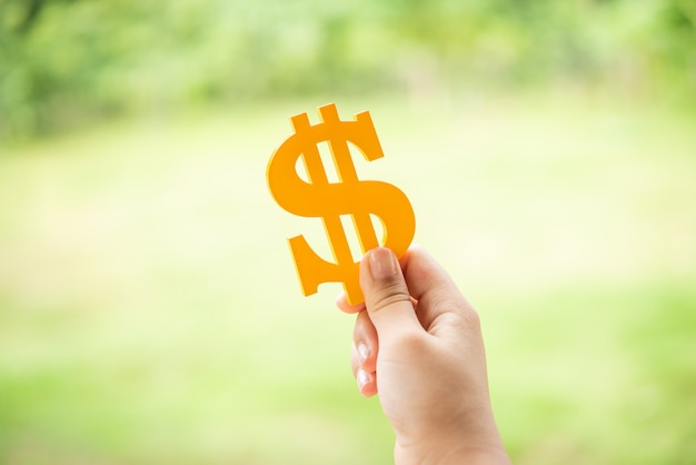 Person holding yellow dollar sign Free Photo