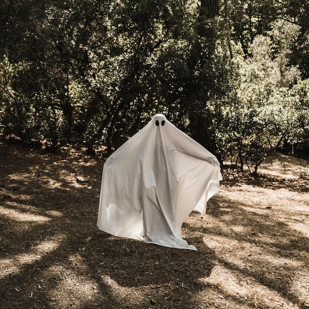 Человек в костюме призрак, стоящий в лесу с вытянутыми руками Бесплатные Фотографии