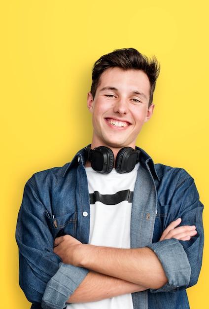 Person listening music headphones concept Premium Photo