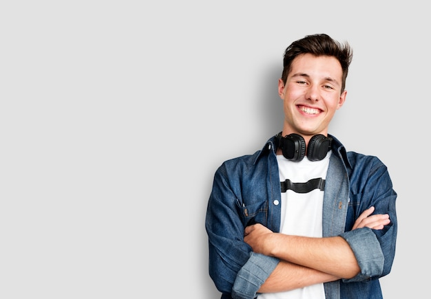 Person listening music headphones concept Premium Photo