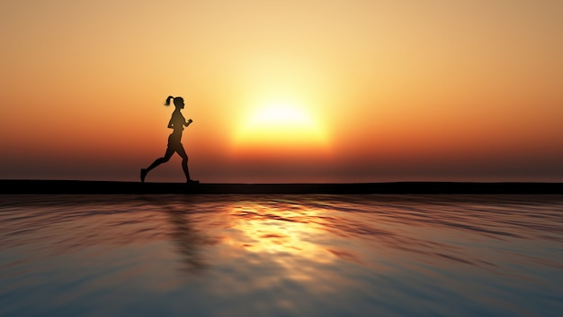 Person running on the beach, sunset Free Photo