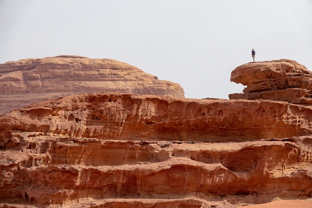 Person standing on a large cliff in a desert under a cloudy sky Free Photo
