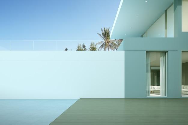 목재 데크와 큰 흰색 벽이있는 현대적인 고급 주택의 관점. 프리미엄 사진
