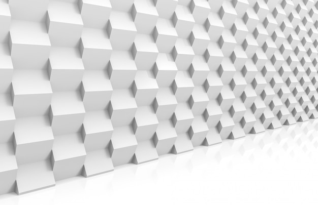 Perspective view of abstract modern stack of random luxury white cube boxes wall Premium Photo
