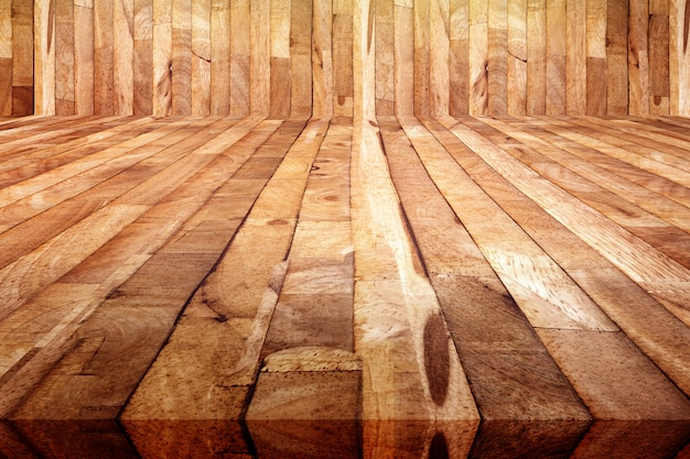 Perspective View Of Grunge Plank Wood Floor Background Texture Of
