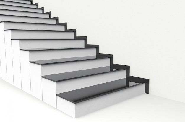Perspective view of modern black plate on white cement stairs background. Premium Photo