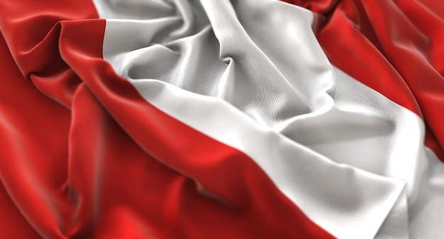 Peru flag ruffled beautifully waving macro close-up shot Free Photo