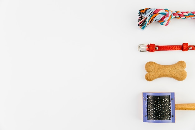 Pet accessories on white background Free Photo