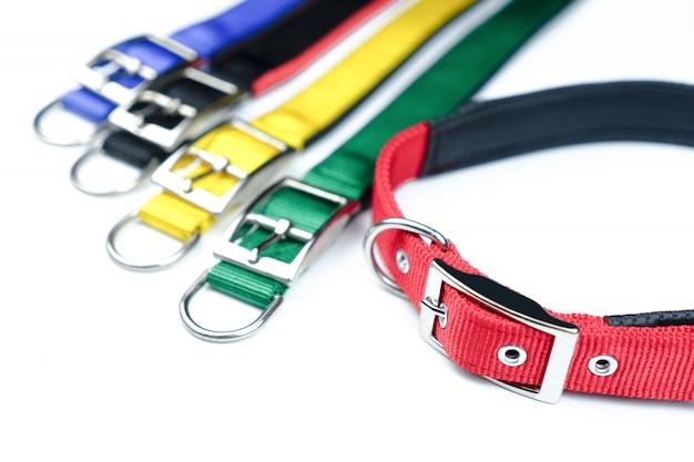 Pet collars on isolated white background Premium Photo
