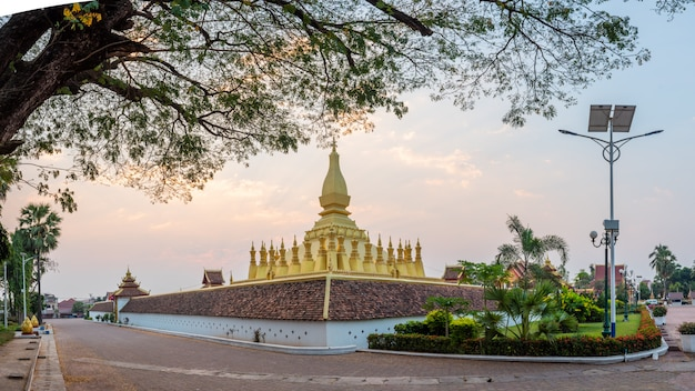 Pha that luang is a gold-covered large buddhist. vientiane, laos. Premium Photo