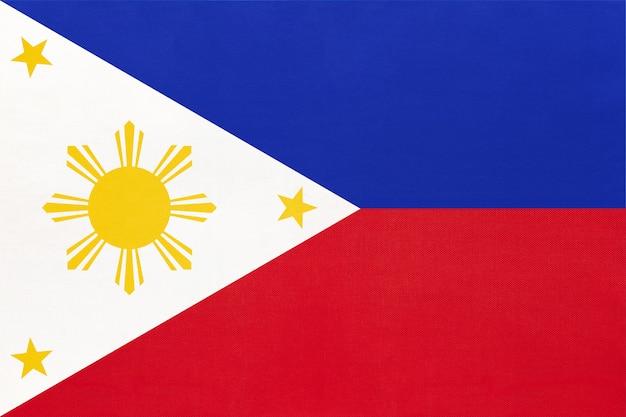 Philippine national fabric flag textile background, symbol of world asian country , Premium Photo