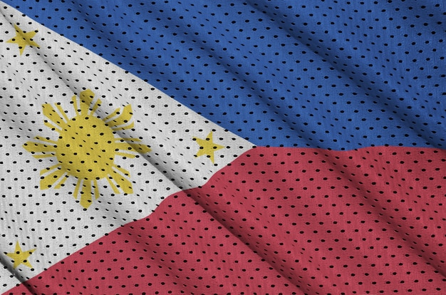 Philippines flag printed on a polyester nylon sportswear mesh Premium Photo