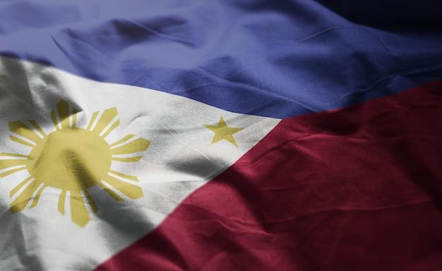 Philippines flag rumpled close up Premium Photo