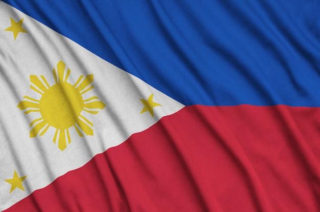 Philippines flag with many folds. Premium Photo