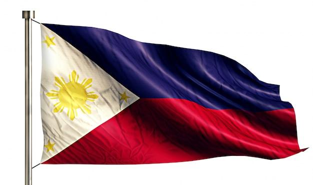 Philippines national flag isolated 3d white background Free Photo