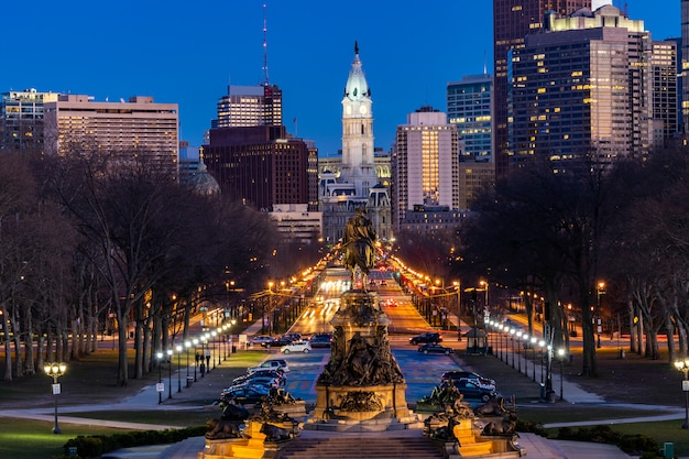 Philladelphia city hall night Premium Photo