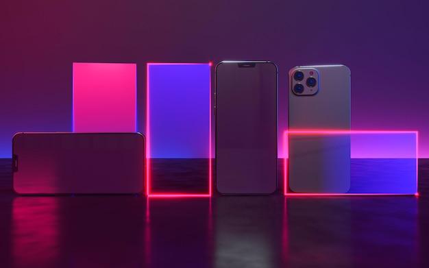 Дизайн телефона с неоновым светом Бесплатные Фотографии