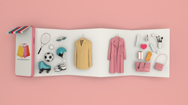 Phone to enter content surrounded by shopping bags, shopping carts on wall-3d rendering. - 3d illustration Premium Photo