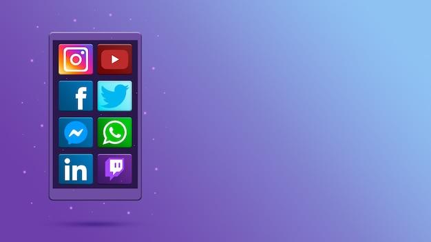 ソーシャルメディアアイコン3dと電話 Premium写真