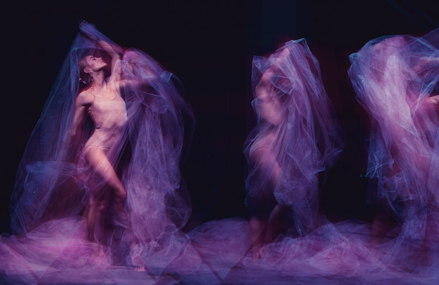 Photo as art - a sensual and emotional dance of beautiful ballerina through the veil Free Photo