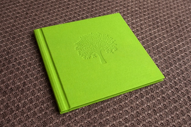 Photo book with textile cover.  light green color with decorative stamping. Premium Photo