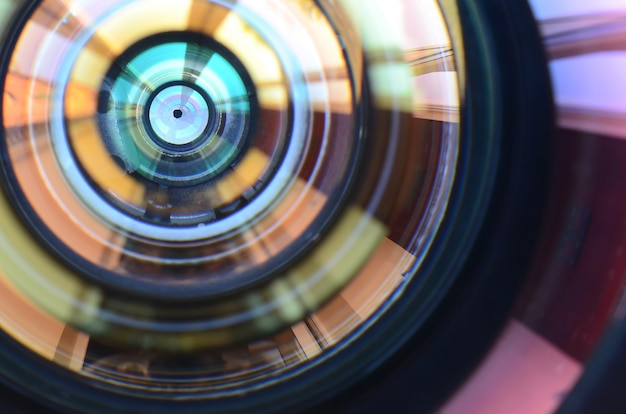 Photo camera lens close up Premium Photo