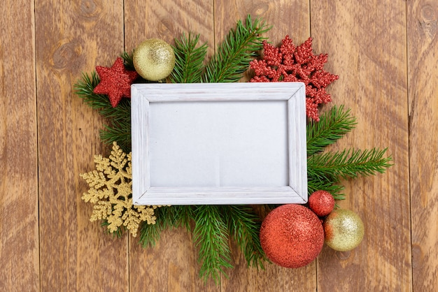 snowflake table decorations.htm photo frame between christmas decoration  with red balls and  photo frame between christmas