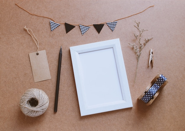 Photo frame mockup and stationery for creative work design  Premium Photo