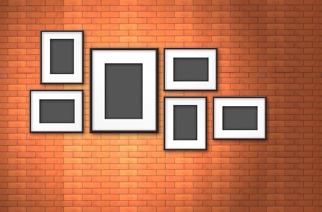 Photo frame on old brick wall Premium Photo